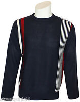 Relco Mens Navy Fine Knitted Classic Racing Stripe Jumper Mod 60s Retro Pop Art