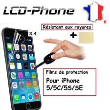 Lots 4X Film Protection PLASTIQUE iPhone 5/5S/5C/SE + Lingettes -Envoi même jour
