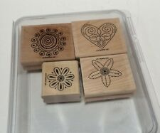STAMPIN' UP! Polka Dot Punches Set Of 4 Rubber Stamps Heart Flowers Retired