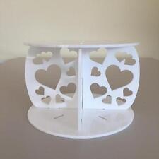 Hearts Design Round Wedding/Party Cake Separators - White Acrylic