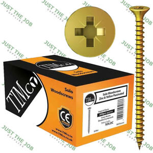 Timco SOLO YELLOW WOODSCREW POZI COUNTERSUNK SOLOC ~ Screws 3.5mm 4.0 4.5 5 6mm