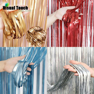Colorful Metallic Foil Fringe Curtain Tinsel Birthday Party Decor Wedding Supply