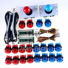 2 Player LED Arcade Game DIY Part for USB MAME Raspberry Pi 3 Model B Red & Blue