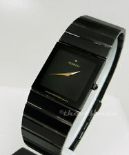 Mens Swiss Authentic Movado Black Sapphire PVD Ion Thin Small Dial Square Watch