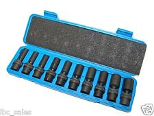 "Universal Swivel Deep Impact Socket Set CR molybdenum10 Pc 3/8"" drive metric"
