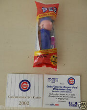 PEZ Charlie Brown Chicago Cubs Giveaway Dispenser 2002 Commemerative Card Mint