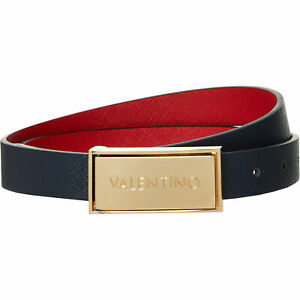 VALENTINO by Mario Valentino - Women's Navy Faux Saffiano Leather Belt, size M