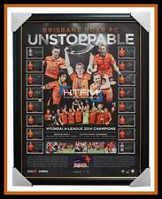Brisbane Roar Signed 2013/14 A-League Champions Team Lithograph Framed OFFICIAL
