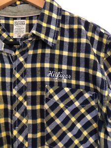 Tommy Hilfiger Denim L Mens Flannel Check SHIRT embroidered logo on chest