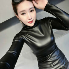 Fashion Women Faux Leather Sexy Basic Pullover Blouse Slim Elastic Tops Casual