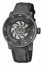GV2 By Gevril Mens 1303 Motorcycle Sport Swiss Automatic Grey Leather Date Watch