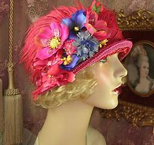 1920'S Vintage Red & Pink Multi-Colored Flower Feather Velvet Cloche Flapper Hat
