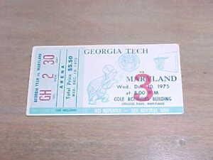 1975 Maryland Terrapins v Georgia Tech Yellow Jackets Basketball Ticket 12/10