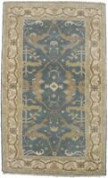 MagicRugs New Muted Blue 3X5 Oushak Chobi Hand Knotted Oriental Area Rug Carpet