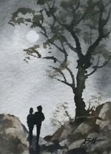 Original Miniature Painting ' Our Romance ' by Bill Lupton ACEO
