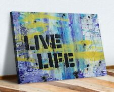 Live Life Quote GRAFFITI CANVAS WALL ART PICTURE PRINT ARTWORK BLUE YELLOW