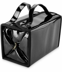 Black Faux Patent Leather Foldable Travel Cosmetic Bag w 4 Removable Pouches