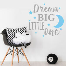 Dream Big Little One Nursery Bedroom Wall Sticker Decal Quote Baby Boy Blue