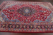 Excellent Traditional Floral Ardakan Area Rug Red Wool Hand-Knotted Carpet 7x10