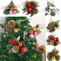 Artificial Fake Flowers Christmas Tree Decoration Poinsettia Glitter Xmas Decor