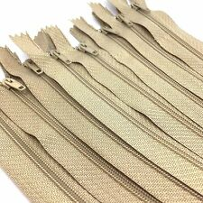 10 x Beige Nylon #3 Autolock Zips - Closed end for sewing & crafts - 14 lengths