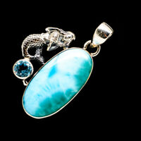 "Larimar, Blue Topaz Mermaid 925 Sterling Silver Pendant 1 1/2"" Jewelry P713343F"
