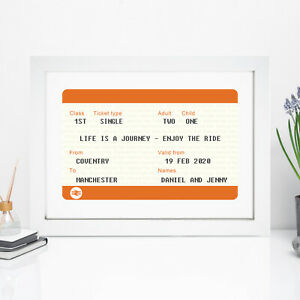 Personalised Ticket Print Gift For Him Her Anniversary Gifts Boyfriend Husband
