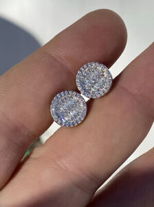 Men's Real Solid Sterling Silver Iced Round Baguette Diamond Hip Hop Earrings