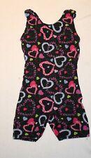 Girl Black Sparkly Hearts Jacques Moret Biketard Dance Gymnastics Size XS 4/5