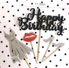 Happy Birthday Cake Toppers Cupcakes Fun Party Celebrate Silver Black Red Lady