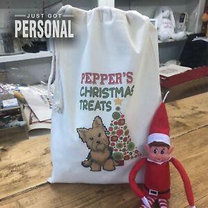 Yorkshire Terrier Yorkie - Personalised Dog Santa Sack -  Pepper Design