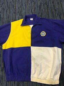 Denim Leeds United Shirt Drill Top Long Sleeve 1980s Rose Logo Blue Yellow White