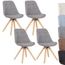 4er Set Esszimmerstühle Küchenstuhl Design Stuhl Leinen Holz BH54gr-4 Grau