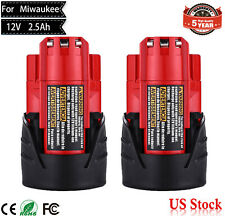 NEW M12 12Volt Lithium Battery For Milwaukee 2.5Ah 48-11-2420 48-11-2411 2Pack