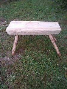 Rustic Log Bench Hand Crafted Poplar Trunk Staked Bough Legs