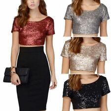 Womens Sequin Bling Shiny Crop Top Tank Top Short Sleeve T Shirt Blouse
