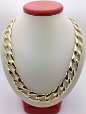 """New Men's Solid 10K Yellow Gold 24.5"""" Cuban Link Chain Necklace 47-48 13 mm"""