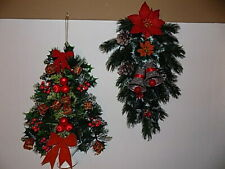 """TWO VTG 17"""" Large Plastic Christmas Wreath Poinsettia,Gifts,Pine Cones,Bells"""