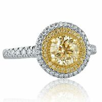 Round Cut Light Yellow 1.56 Ct VS2 Diamond Engagement Halo Ring 14k White Gold
