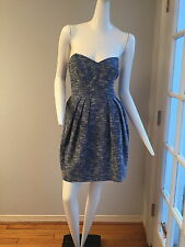 shoshanna blue and white cotton tweed strapless dress