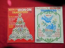 Lot of 2 Vintage 1976-77 McCall's Iron-On Transfers Books Cross Stitch*Embroider