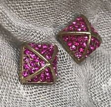 ALL THE RAGE Pink Stud Earrings Rhinestone Pave Gold Tone Pyramid No Tag New