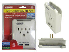 2 Outlet Adapter with 2 USB Ports and Phone Place Holder