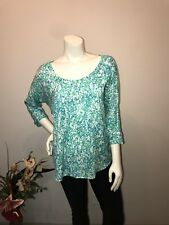 Ann Taylor S Small Top Shirt Green / Blue / Multi- Color! Lovely Designs! CUTE!!
