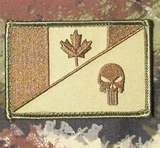 CANADA FLAG PUNISHER SKULL TACTICAL MILITARY MORALE MULTICAM HOOK PATCH