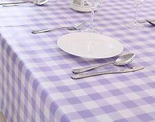 "Vinyl pvc wipe clean tablecloth cover NEW lilac check 55"" x 55"" 140cm x 140cm"