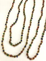"""Vintage Multi Color Glass Beaded Necklace~Red Green Blue Brown~Long Strand 60"""""""