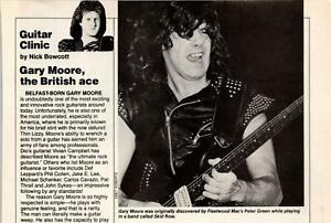 1986 VINTAGE 1PAGE ARTICLE GUITAR CLINIC WITH BRITISH ACE GARY MOORE THIN LIZZY