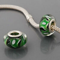Glass BEAD European Style -green Buy 15 get a FREE BRACELET !