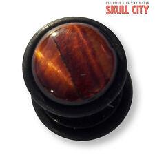 RED TIGER EYE BLACK GEMSTONE FAKEPLUG - Fake Piercing Stone Plug Ohrstecker Ear